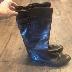 Born leather tall flat heel boots. Exc condition